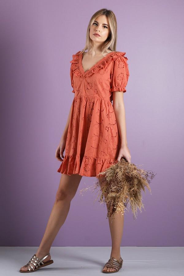 Orange Ondine Dress