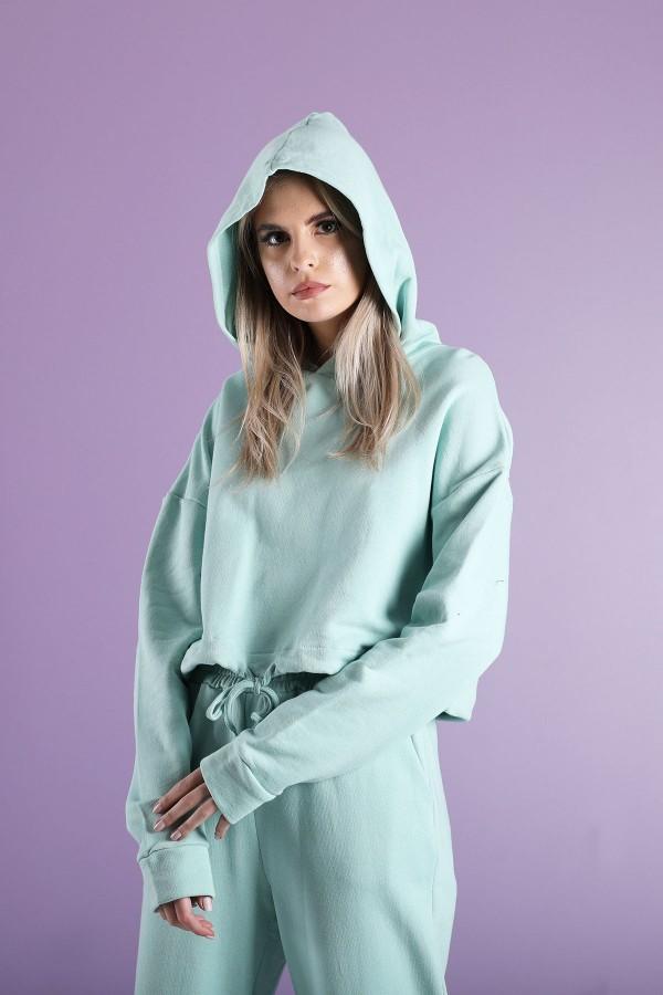 Aqua Cord Lock Sweatshirt