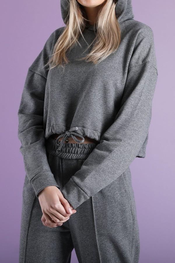 Grey Cord Lock Sweatshirt