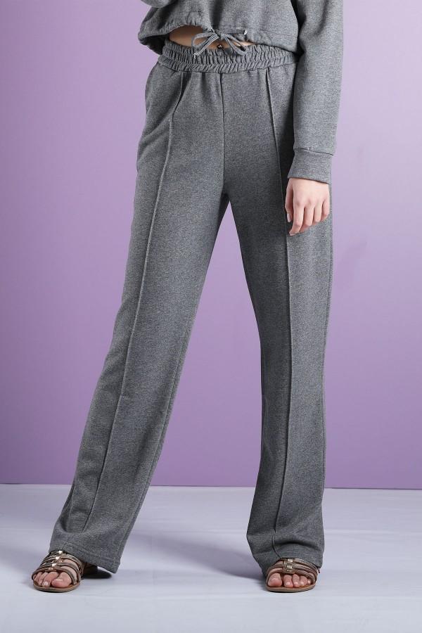Grey Wide Leg Jogging Trousers